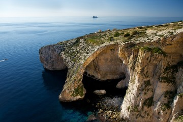 Malta, View of Blue Grotto in Zurieq