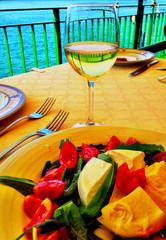Mozzarella, tomato and basil salad with wine