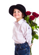 Little boy with red roses - 77422129