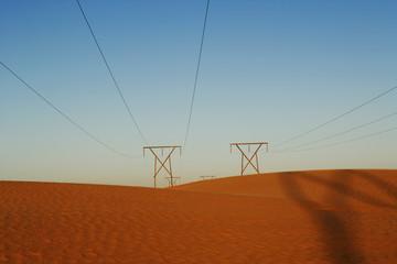 Namibia, Power lines in desert