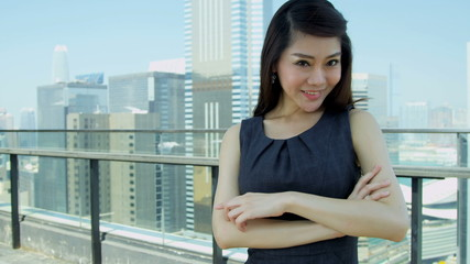 Smart Ethnic Businesswoman City Rooftop Portrait