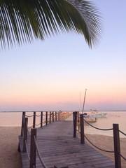 Bahamas, Pier at sunset