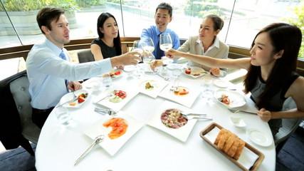 Toast Ambitious Multi Ethnic Advertising Executives Restaurant
