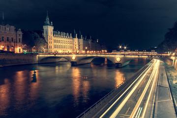 France, Paris, Pont des Invalides at night