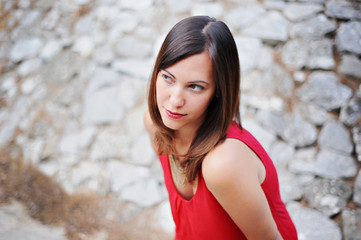Provence, France Beautiful Brunette Girl Dressed In Red