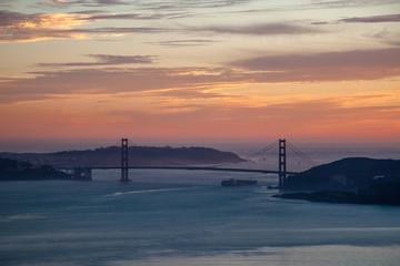 USA, California, San Francisco, Sunset over Golden Gate Bridge