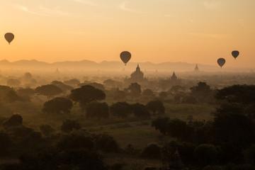 Myanmar, Hot Air Balloons At The Sunrise, Bagan