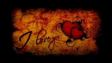 I love you inscription with beating heart for Valentine's day