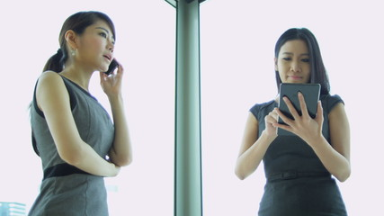 Asian Chinese Female Financial Consultants Wireless Technology