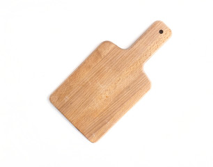 Rustic wooden cutting board on a white background