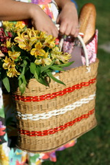 Picnic basket with flowers held by woman in floral dress