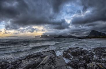 Norway, Storsandnes, Autumn seascape