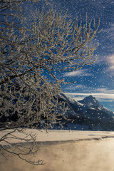 Switzerland, Falling snow