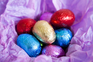 Multi colored foil covered easter eggs