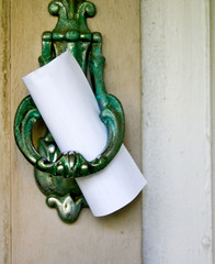 Note left on door knocker
