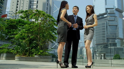 Male Female Asian Chinese Business Colleagues Outdoors