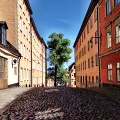 Sweden, Stockholm, Cobbled street