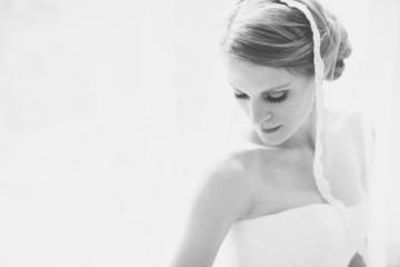 USA, Florida, Walton County, Watercolor, Portrait of bride in white