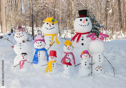 Leinwanddruck Bild Snowman family