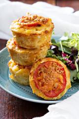 Macaroni and cheese in muffin tins