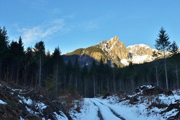 Vulcan's Thumb in winter, Squamish Valley, BC