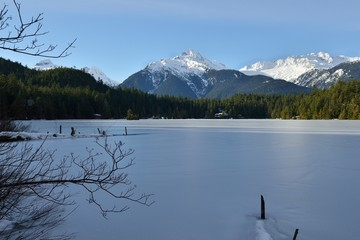 Lake Levette and Tantalus Range in winter