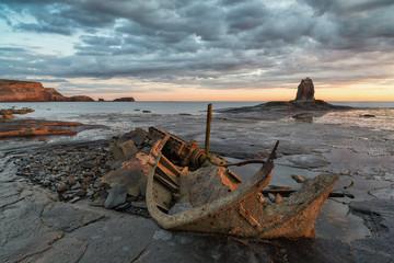 UK, England, Yorkshire, Sunrise at Saltwick Bay