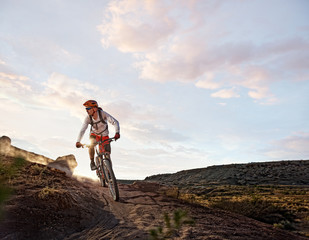 USA, Colorado, Mesa County, Grand Junction, Mountain Biker on route