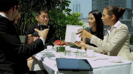 Male Female Multi Ethnic Business Colleagues Rooftop Restaurant