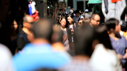 Asian City Commuters Crowded Downtown Streets