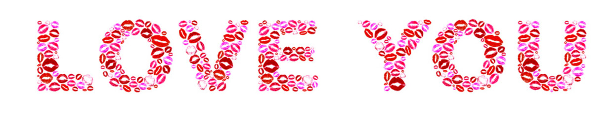 Love you words made of kisses isolated on white