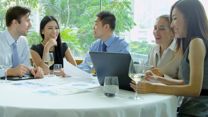 Working Lunch Caucasian Consultant Ethnic Business People