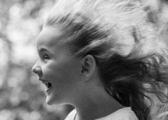 Girl (4-5) with blown hair