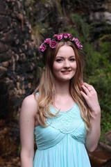 Portrait of woman wearing flower headband