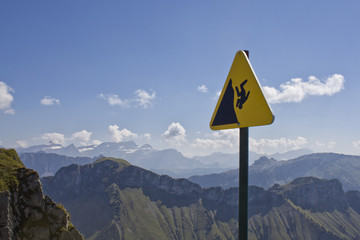 Switzerland, Swiss Alps, Warning sign in mountains