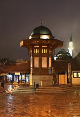 Sebilj fountain on Bascarsija square in Sarajevo