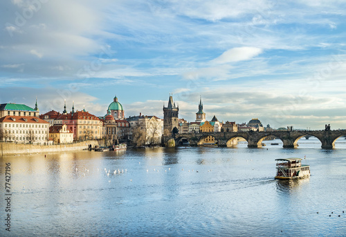 Foto op Canvas Praag The view over the Vltava river, Charles bridge and white swans f
