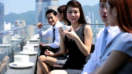 Ambitious Team Business Associates Meeting Rooftop Restaurant