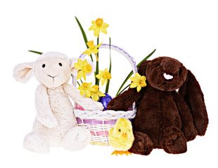 Bunny, Lamb and chick with Easter Basket - Isolated