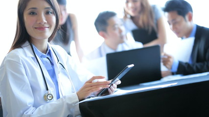 Meeting of Medical Consultants Female Doctor Close Up