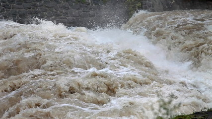 Close up of rapids on the rising water