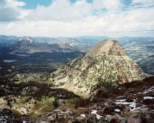 USA, Utah, Aerial view of mountains and valleys from Bald Mountain