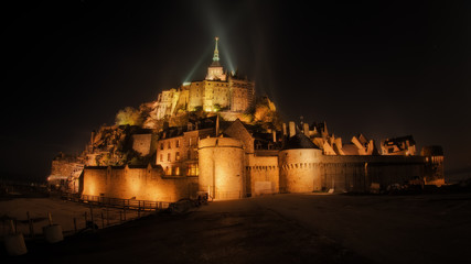 France, Normandy, Mont Saint Michel at night