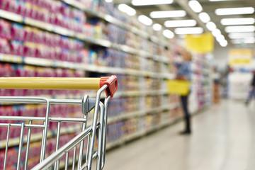 Cart buyer in supermarket