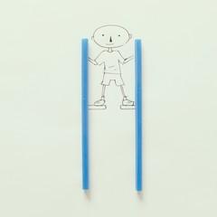 Illustration of boy on stilts