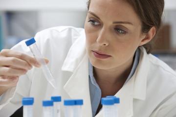 Laboratory technician examining test tube
