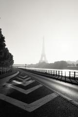 France, Paris, View of Eiffel Tower in fog
