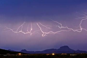 USA, Arizona, Maricopa County, Hassayampa, Lightning over mountains