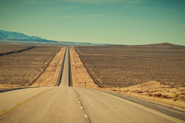 Long Straight Road in Wyoming USA