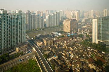 China, Shanghai, Elevated view of city